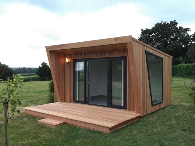 Oficinas y despachos de madera para el jard n for Casas de jardin de madera baratas